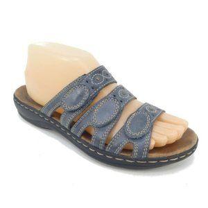 Clarks Leisa Cacti Q Blue Leather Slide Sandals